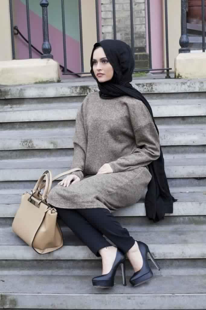 صورة موضة شتاء 2019 للمحجبات , لباس شتوى للخليجيات 6261 5