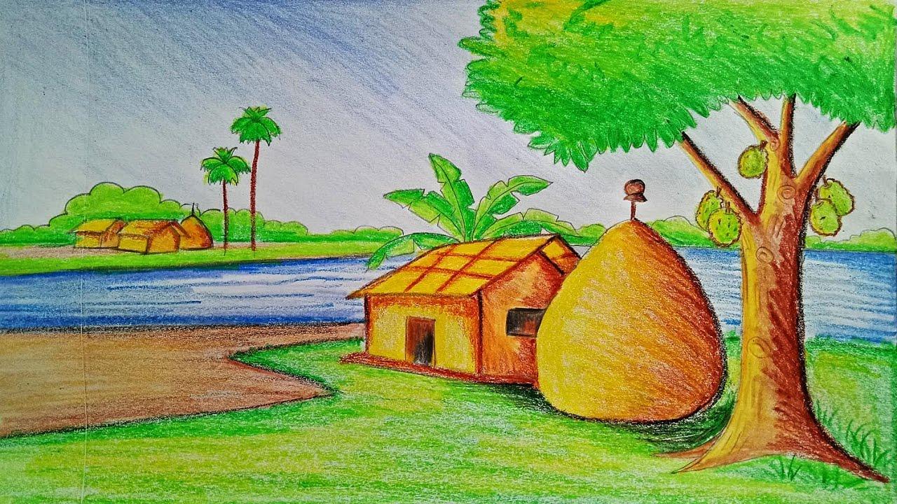 رسم منظر طبيعي سهل للاطفال اجمل الرسومات الطبيعية السهلة