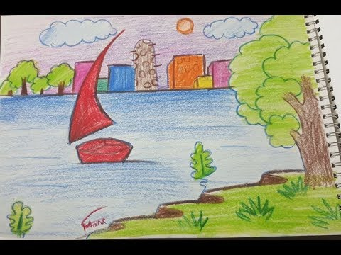 صورة رسم منظر طبيعي للاطفال , اجمل الرسومات للاطفال